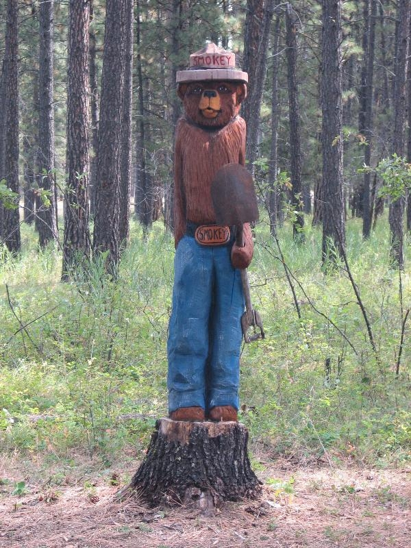 Smokey- carved statue, Lincoln Ranger Station, Montana