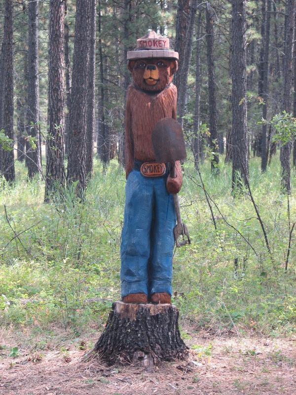 Smokey- carved statue, Lincoln Ranger Station, Montana